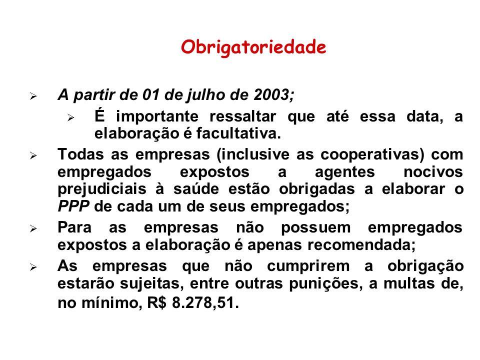 Obrigatoriedade A partir de 01 de julho de 2003;