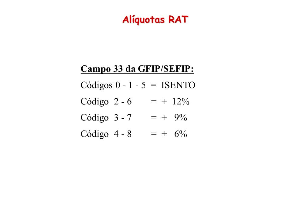 Alíquotas RAT Campo 33 da GFIP/SEFIP: Códigos 0 - 1 - 5 = ISENTO. Código 2 - 6 = + 12%