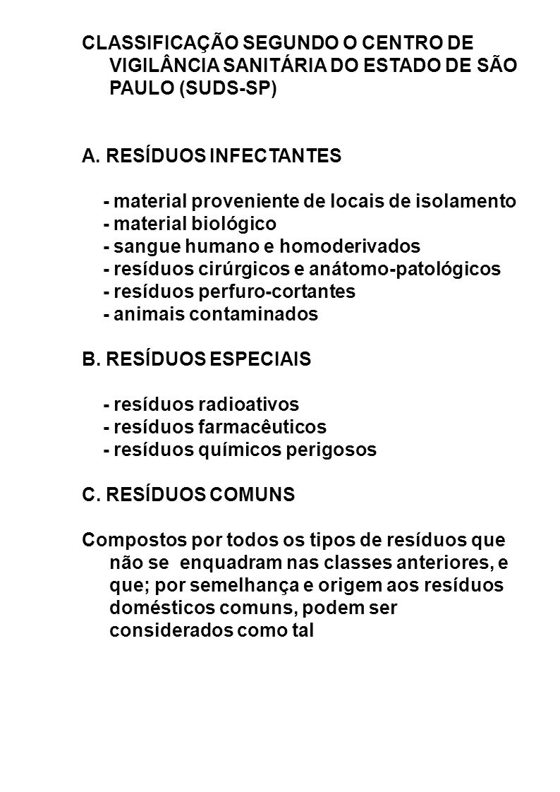 CLASSIFICAÇÃO SEGUNDO O CENTRO DE VIGILÂNCIA SANITÁRIA DO ESTADO DE SÃO PAULO (SUDS-SP)