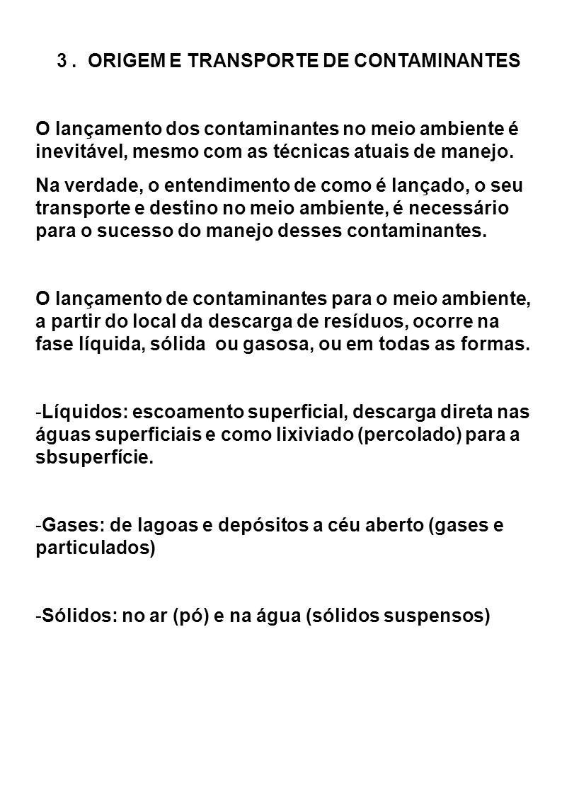 3 . ORIGEM E TRANSPORTE DE CONTAMINANTES