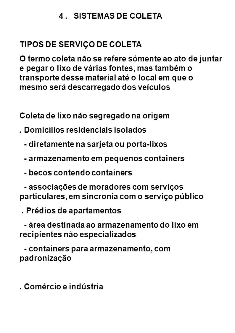 4 . SISTEMAS DE COLETA TIPOS DE SERVIÇO DE COLETA.