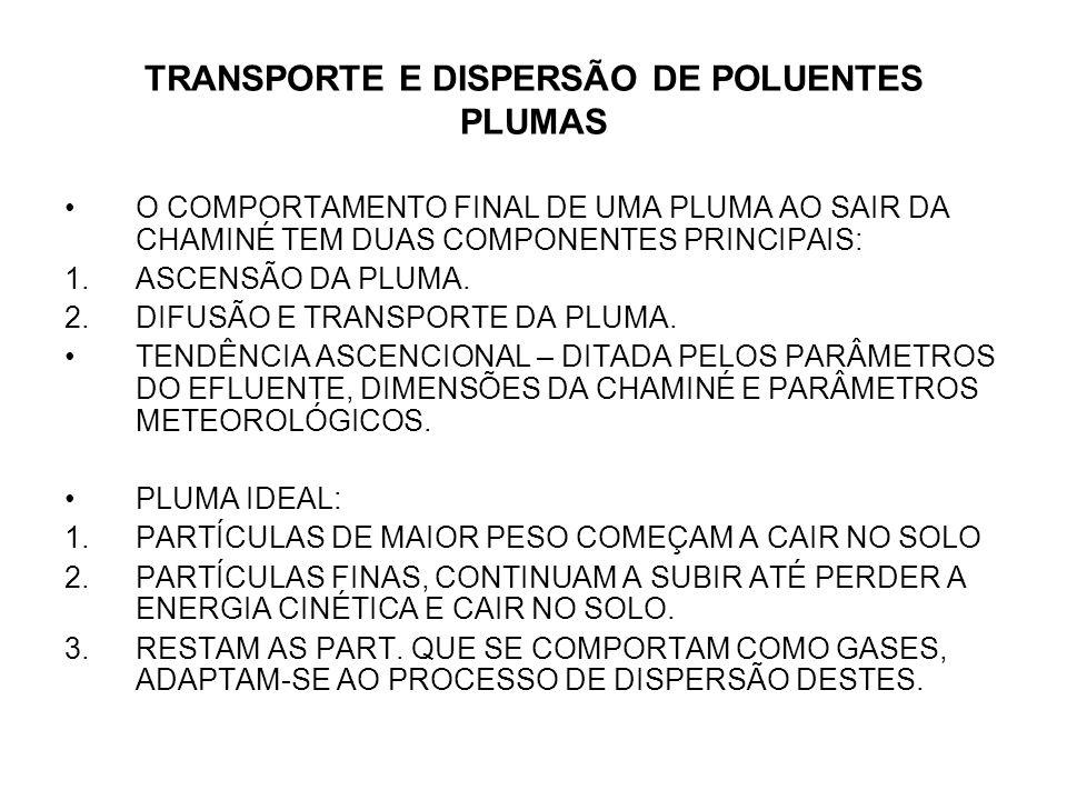 TRANSPORTE E DISPERSÃO DE POLUENTES PLUMAS