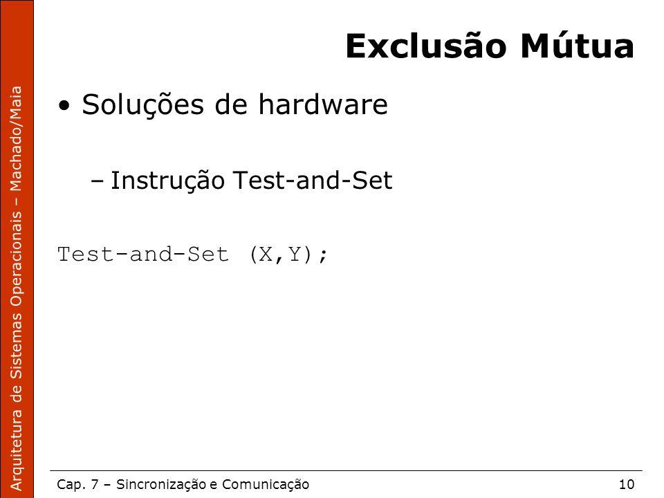 Exclusão Mútua Soluções de hardware Instrução Test-and-Set