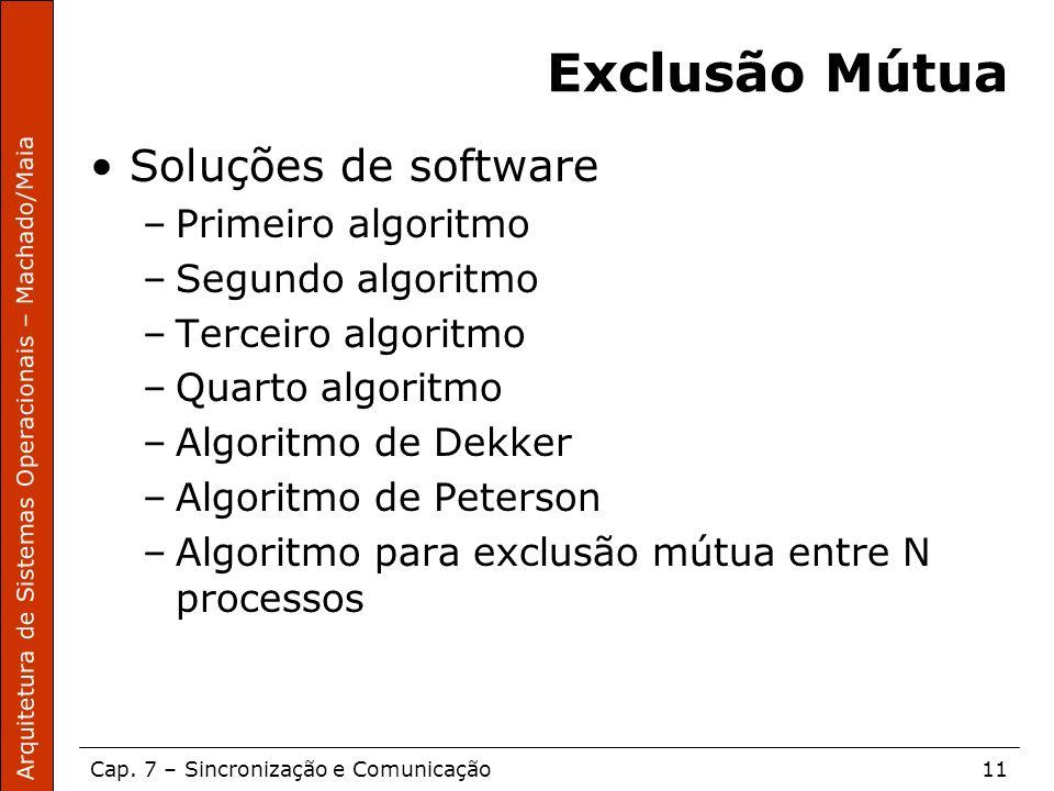 Exclusão Mútua Soluções de software Primeiro algoritmo
