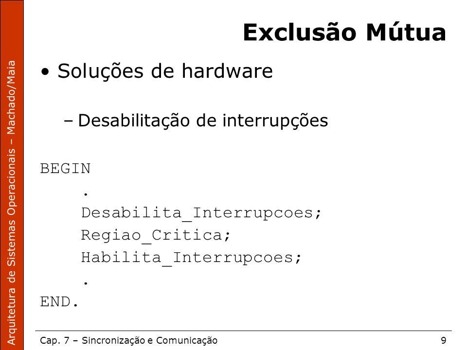 Exclusão Mútua Soluções de hardware Desabilitação de interrupções