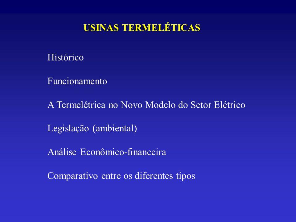 USINAS TERMELÉTICAS Histórico. Funcionamento. A Termelétrica no Novo Modelo do Setor Elétrico. Legislação (ambiental)