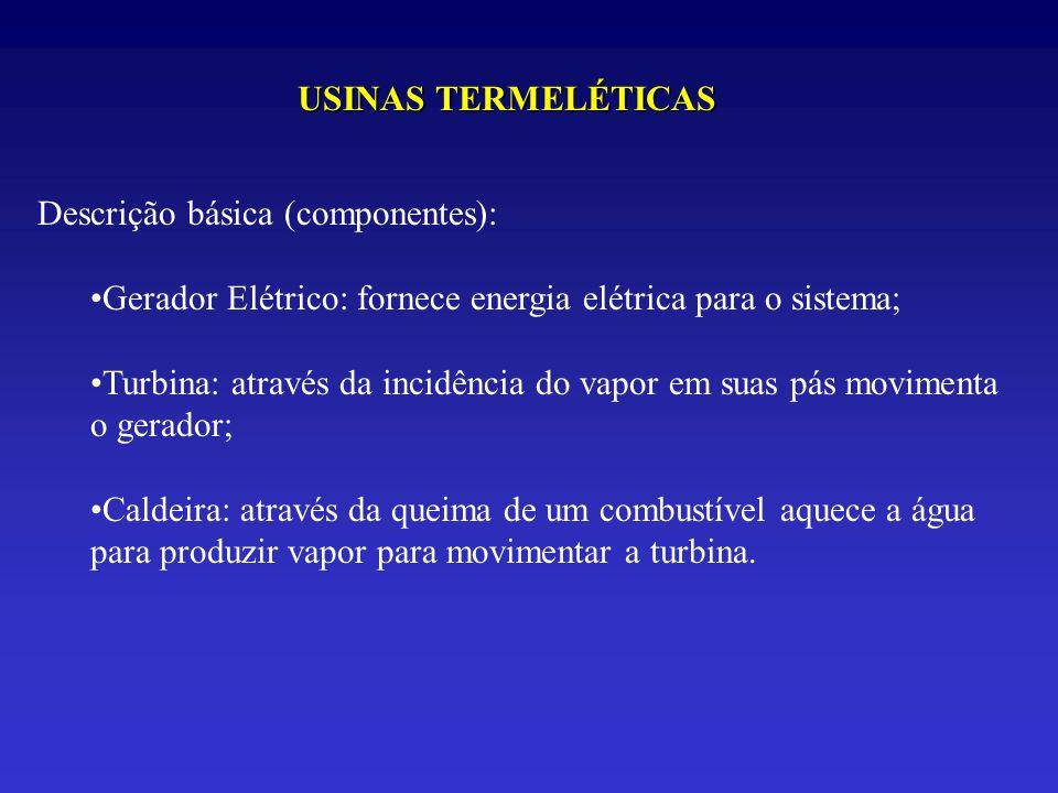 USINAS TERMELÉTICAS Descrição básica (componentes): Gerador Elétrico: fornece energia elétrica para o sistema;
