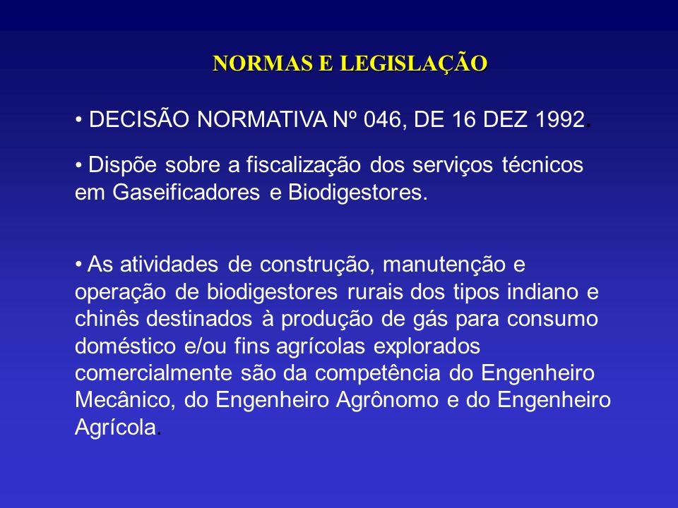 NORMAS E LEGISLAÇÃODECISÃO NORMATIVA Nº 046, DE 16 DEZ 1992. Dispõe sobre a fiscalização dos serviços técnicos em Gaseificadores e Biodigestores.