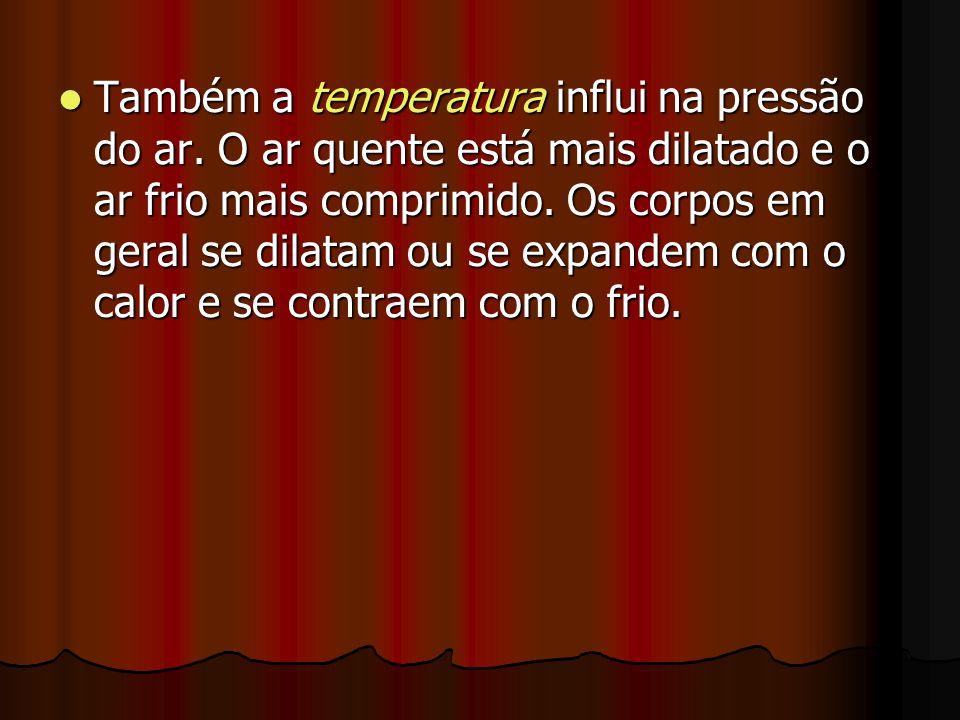 Também a temperatura influi na pressão do ar