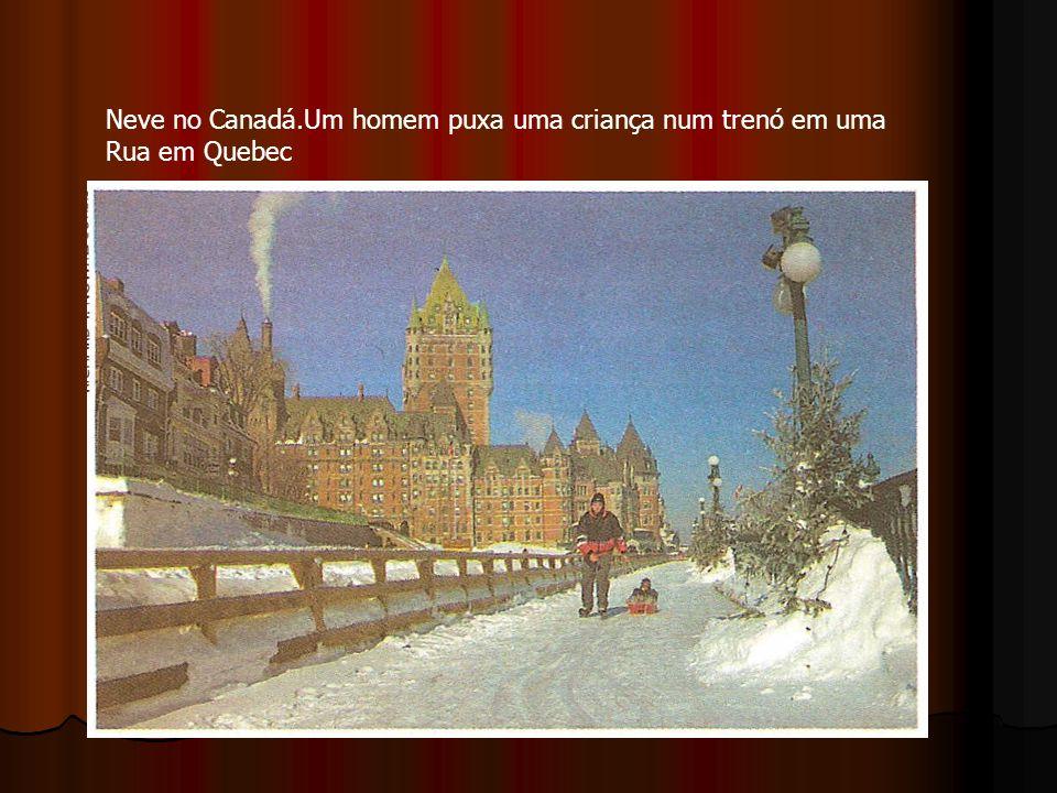 Neve no Canadá.Um homem puxa uma criança num trenó em uma