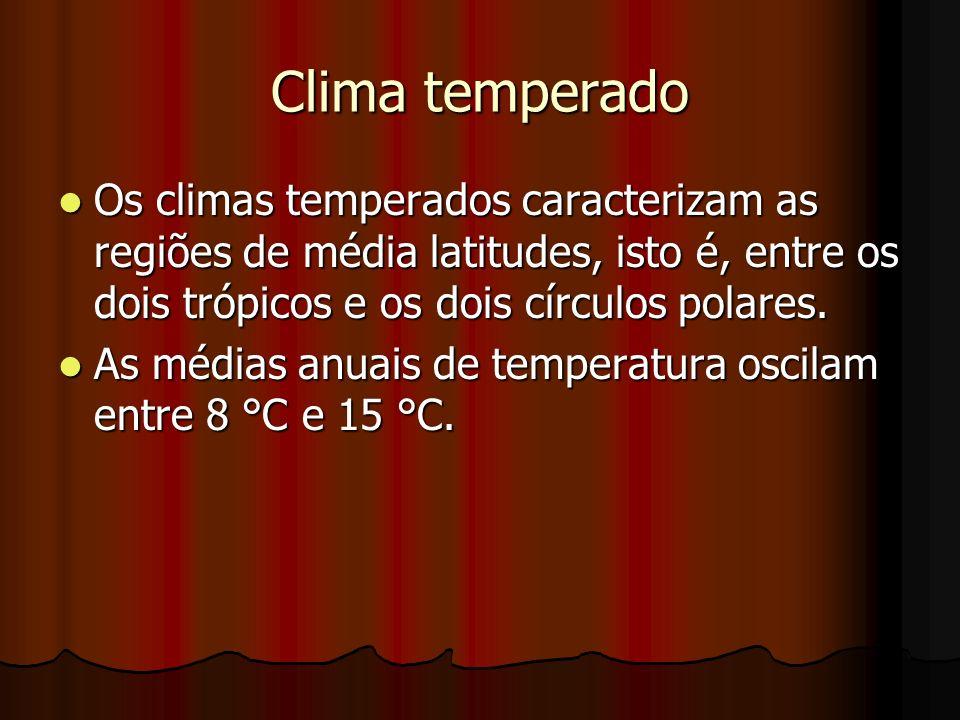 Clima temperado Os climas temperados caracterizam as regiões de média latitudes, isto é, entre os dois trópicos e os dois círculos polares.