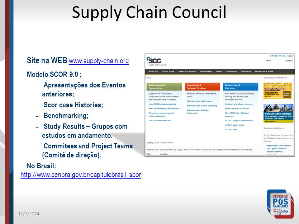 Supply Chain Council Site na WEB www.supply-chain.org. Modelo SCOR 9.0 ; Apresentações dos Eventos anteriores;