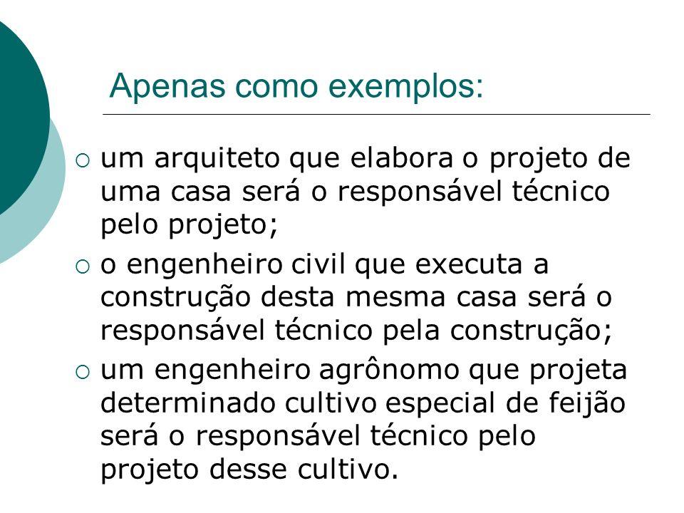 Apenas como exemplos: um arquiteto que elabora o projeto de uma casa será o responsável técnico pelo projeto;
