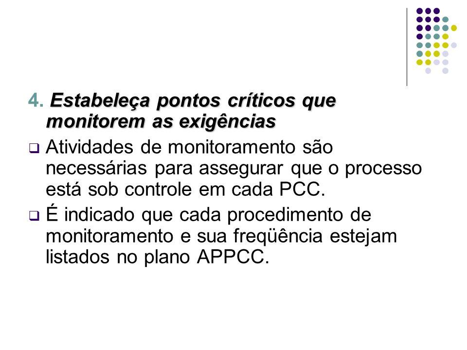 4. Estabeleça pontos críticos que monitorem as exigências