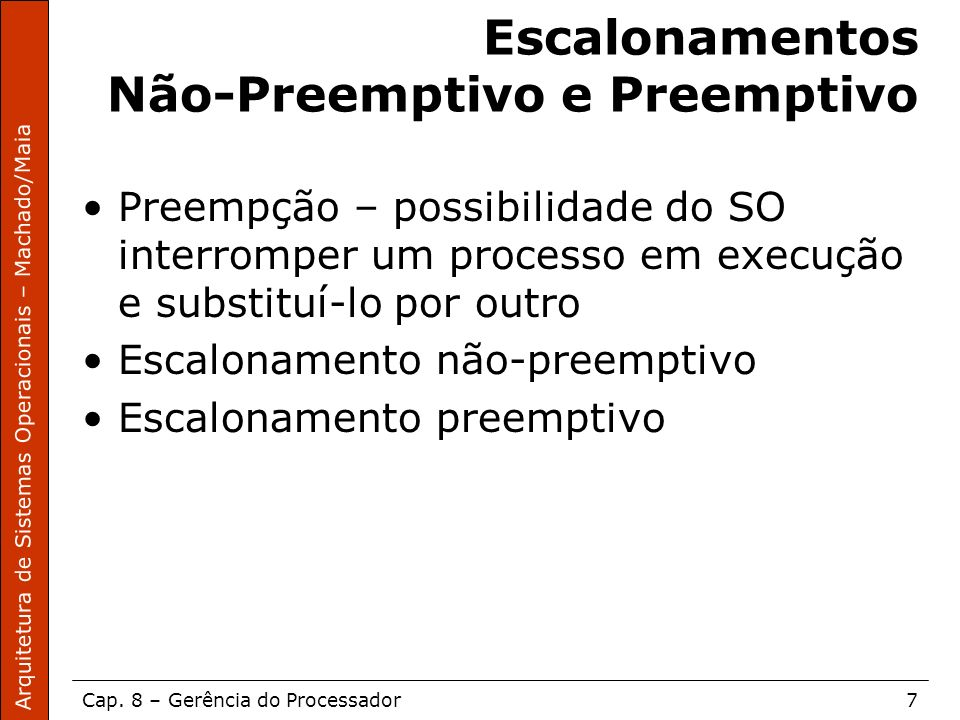 Escalonamentos Não-Preemptivo e Preemptivo