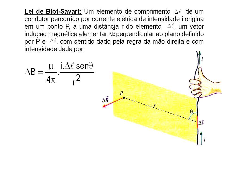 Lei de Biot-Savart: Um elemento de comprimento de um condutor percorrido por corrente elétrica de intensidade i origina em um ponto P, a uma distância r do elemento , um vetor indução magnética elementar perpendicular ao plano definido por P e , com sentido dado pela regra da mão direita e com intensidade dada por: