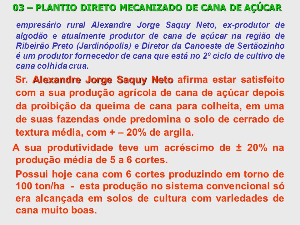 03 – PLANTIO DIRETO MECANIZADO DE CANA DE AÇÚCAR