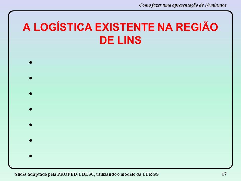 A LOGÍSTICA EXISTENTE NA REGIÃO DE LINS