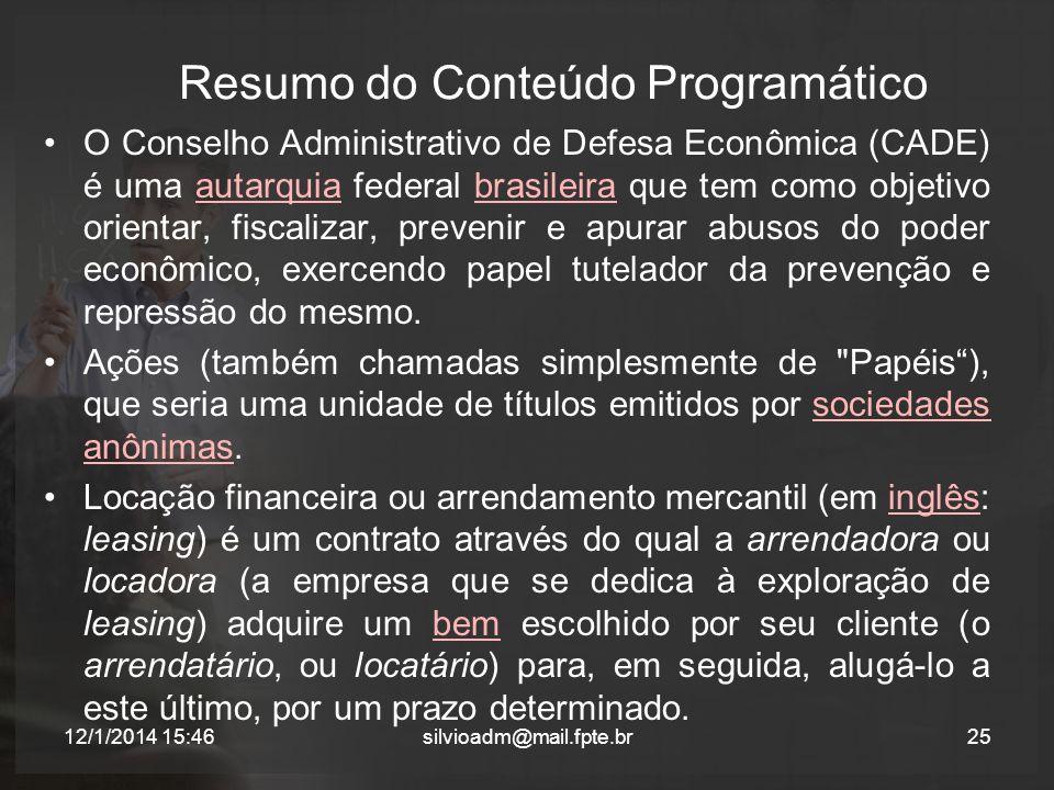 Resumo do Conteúdo Programático