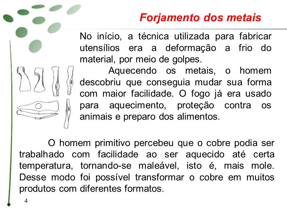 Forjamento dos metais No início, a técnica utilizada para fabricar utensílios era a deformação a frio do material, por meio de golpes.