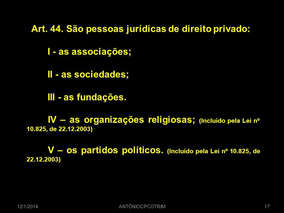 Art. 44. São pessoas jurídicas de direito privado: I - as associações;