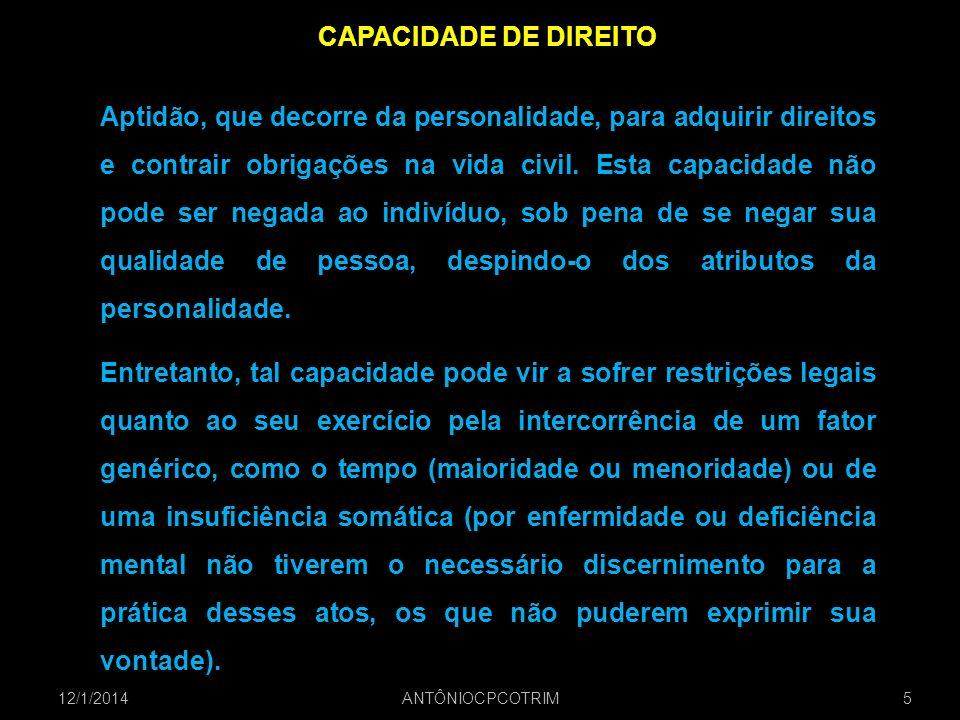 CAPACIDADE DE DIREITO