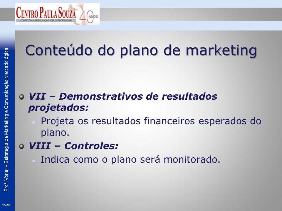 Conteúdo do plano de marketing