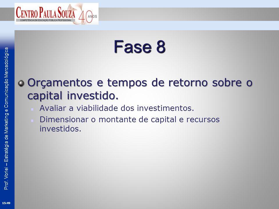 Fase 8 Orçamentos e tempos de retorno sobre o capital investido.