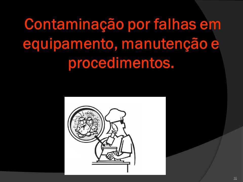 Contaminação por falhas em equipamento, manutenção e procedimentos.