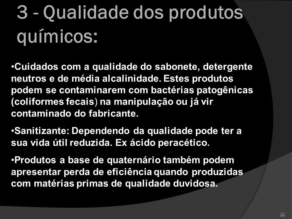 3 - Qualidade dos produtos químicos: