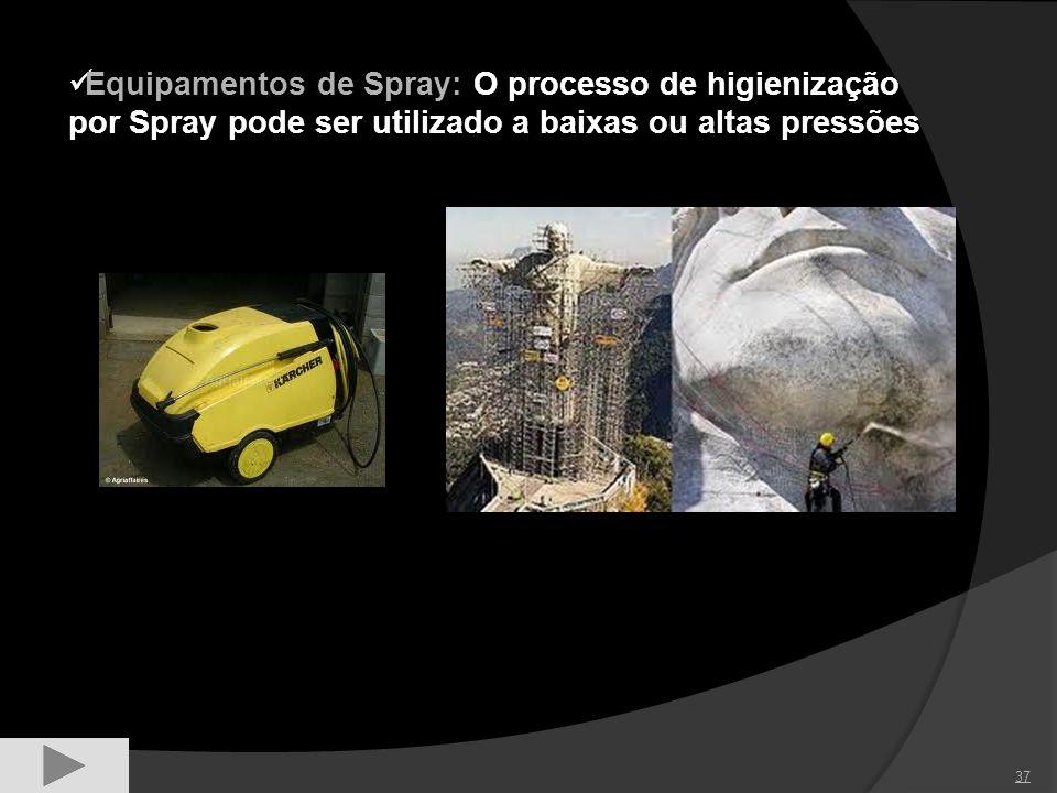 Equipamentos de Spray: O processo de higienização por Spray pode ser utilizado a baixas ou altas pressões