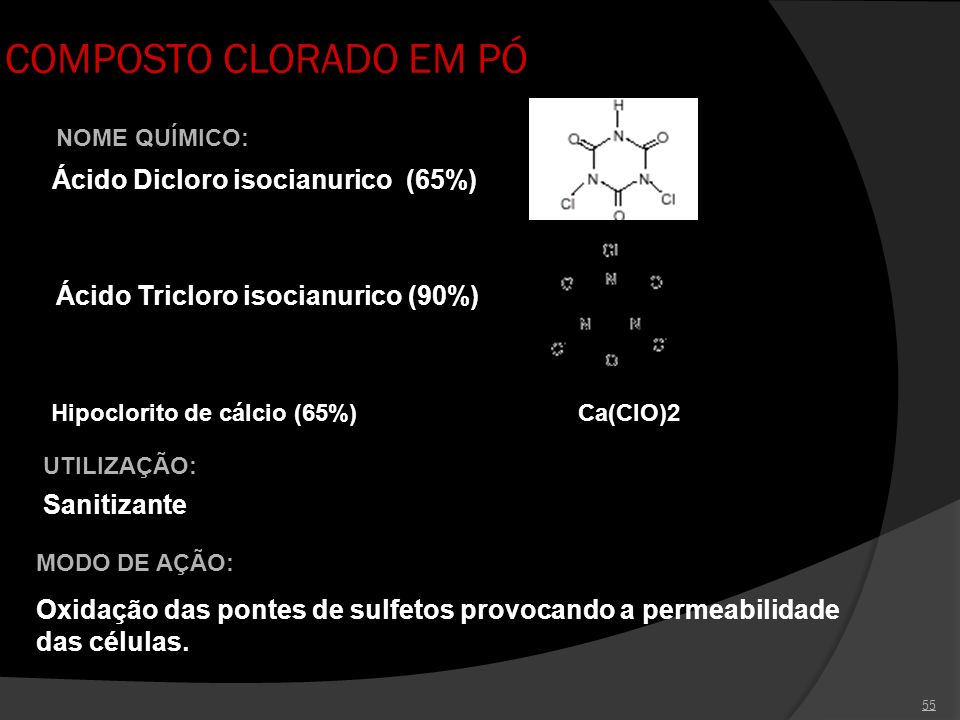 COMPOSTO CLORADO EM PÓ Ácido Dicloro isocianurico (65%)
