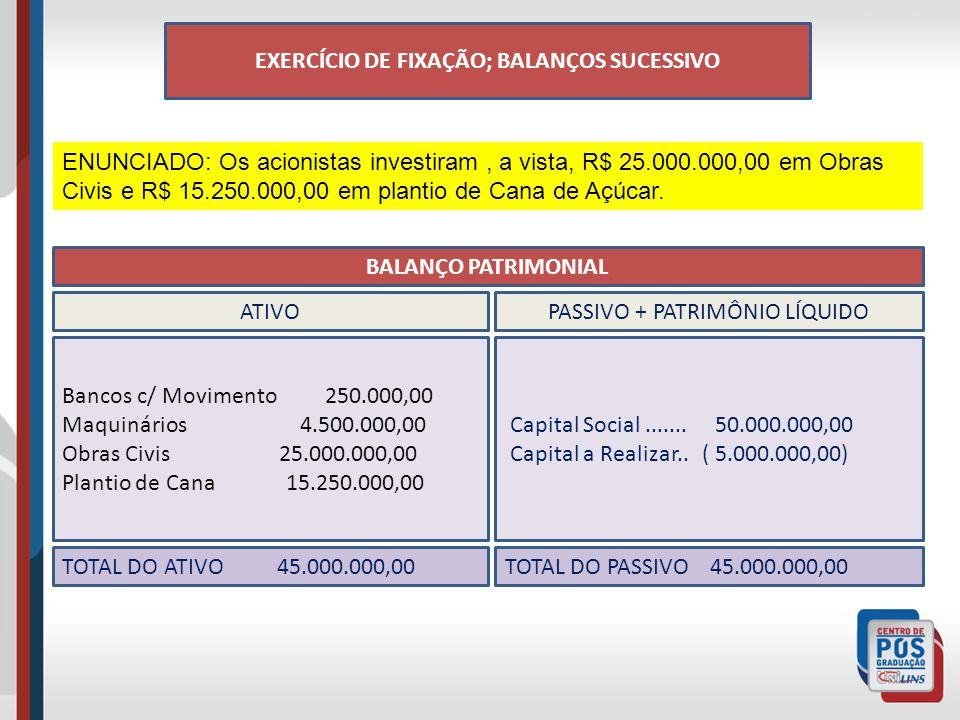 EXERCÍCIO DE FIXAÇÃO; BALANÇOS SUCESSIVO