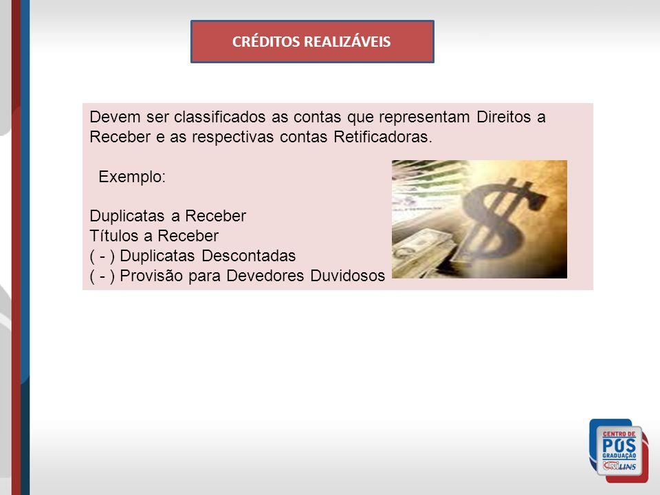 CRÉDITOS REALIZÁVEIS Devem ser classificados as contas que representam Direitos a Receber e as respectivas contas Retificadoras.
