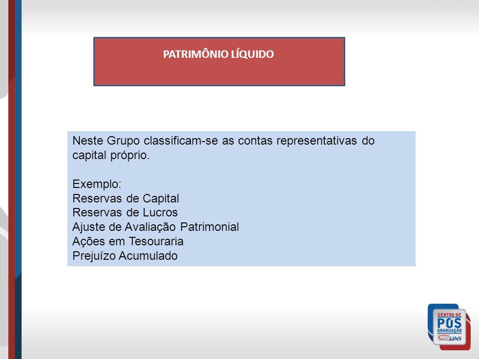 PATRIMÔNIO LÍQUIDO Neste Grupo classificam-se as contas representativas do capital próprio. Exemplo: