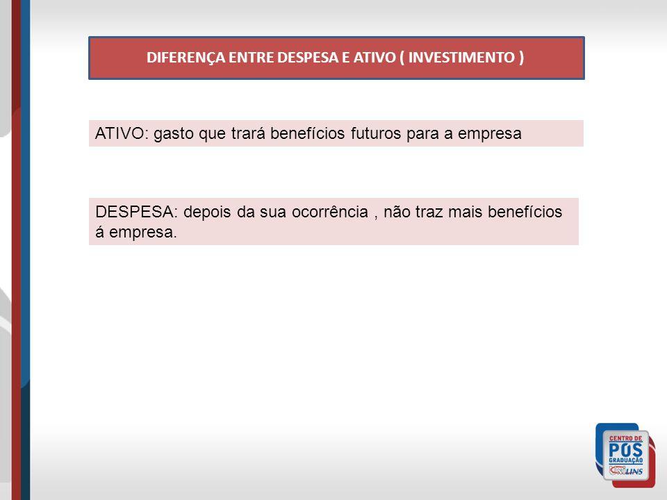 DIFERENÇA ENTRE DESPESA E ATIVO ( INVESTIMENTO )