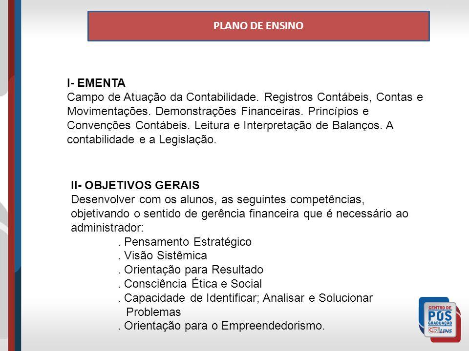 PLANO DE ENSINO I- EMENTA.