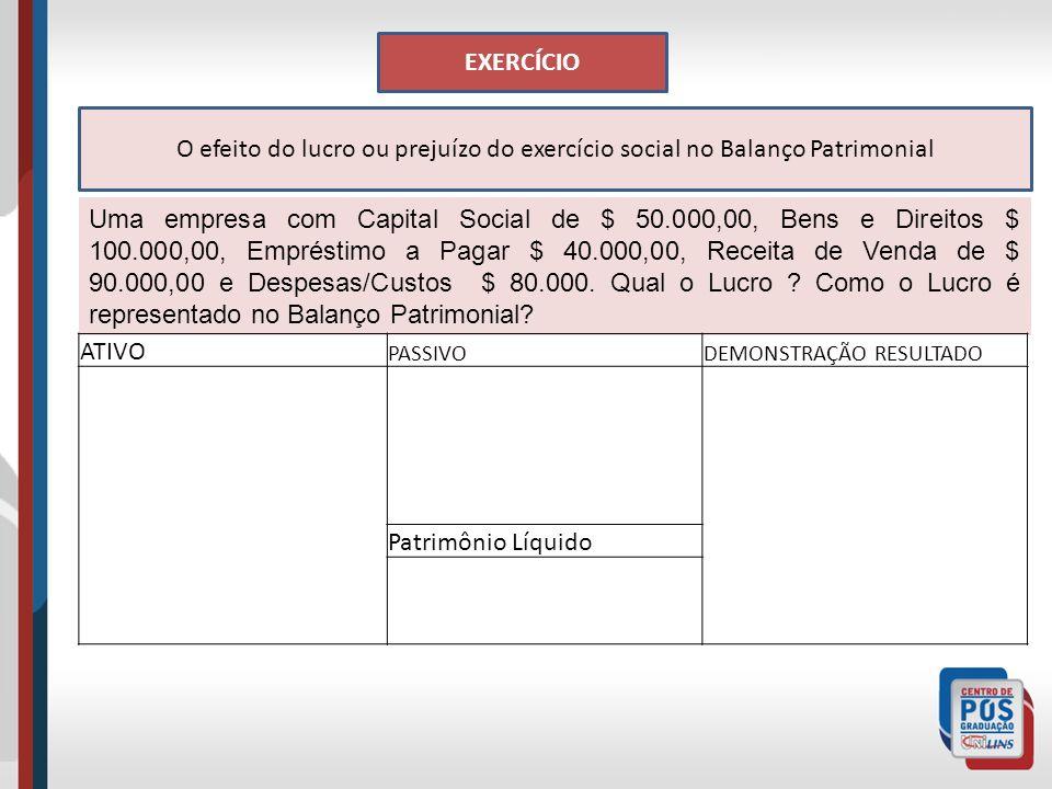 EXERCÍCIO O efeito do lucro ou prejuízo do exercício social no Balanço Patrimonial.
