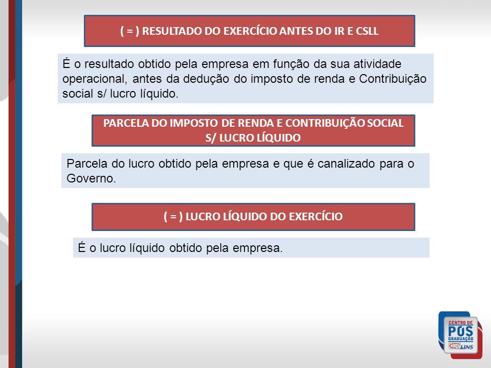 ( = ) RESULTADO DO EXERCÍCIO ANTES DO IR E CSLL