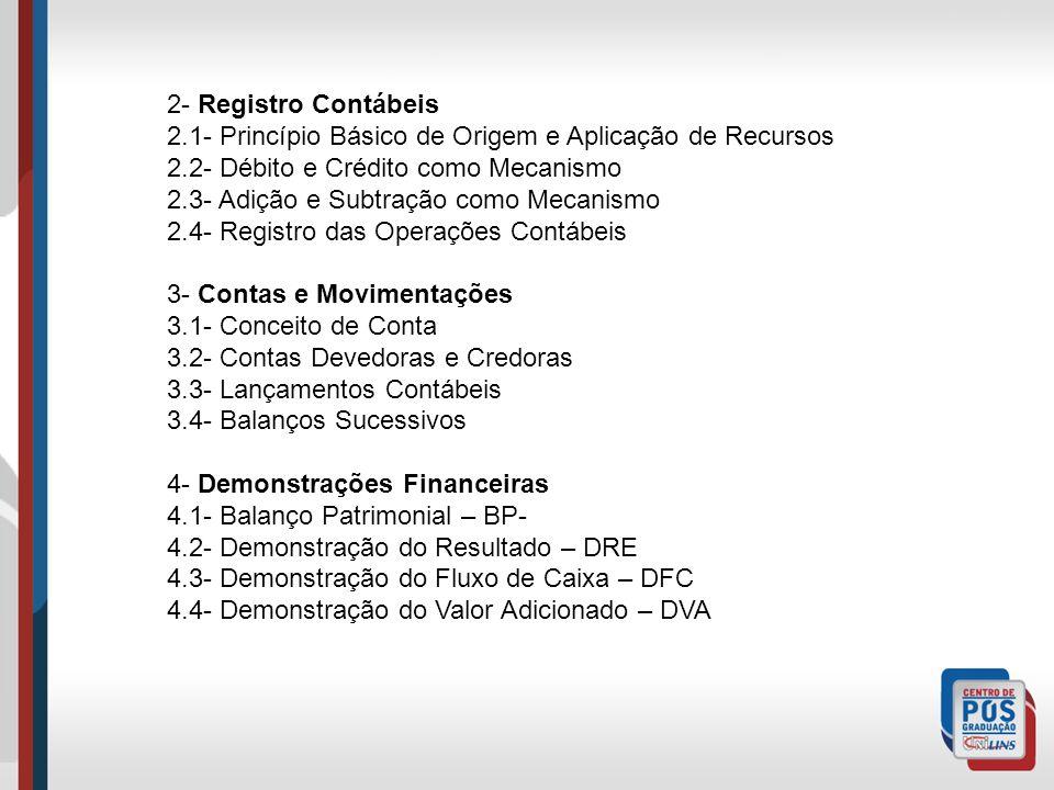 2- Registro Contábeis 2.1- Princípio Básico de Origem e Aplicação de Recursos. 2.2- Débito e Crédito como Mecanismo.
