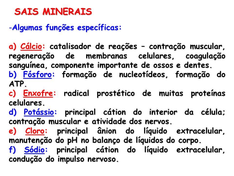 SAIS MINERAIS Algumas funções específicas: