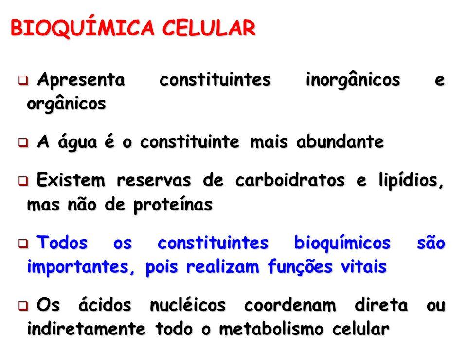 BIOQUÍMICA CELULAR Apresenta constituintes inorgânicos e orgânicos