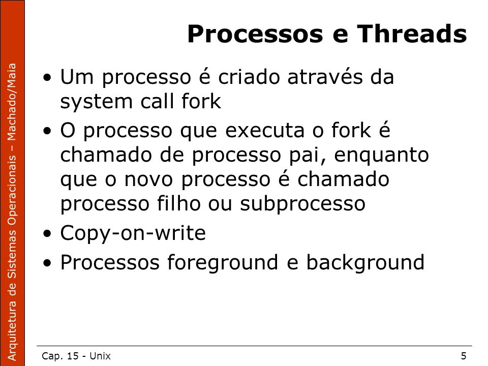 Processos e Threads Um processo é criado através da system call fork