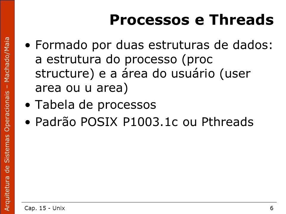 Processos e Threads Formado por duas estruturas de dados: a estrutura do processo (proc structure) e a área do usuário (user area ou u area)