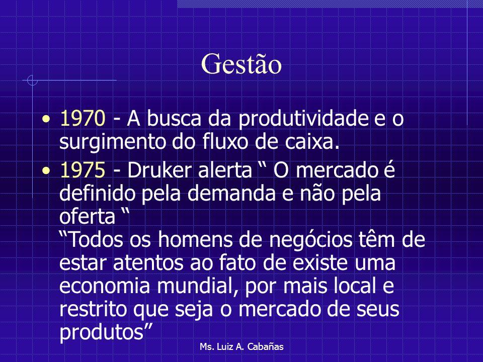 Gestão 1970 - A busca da produtividade e o surgimento do fluxo de caixa.