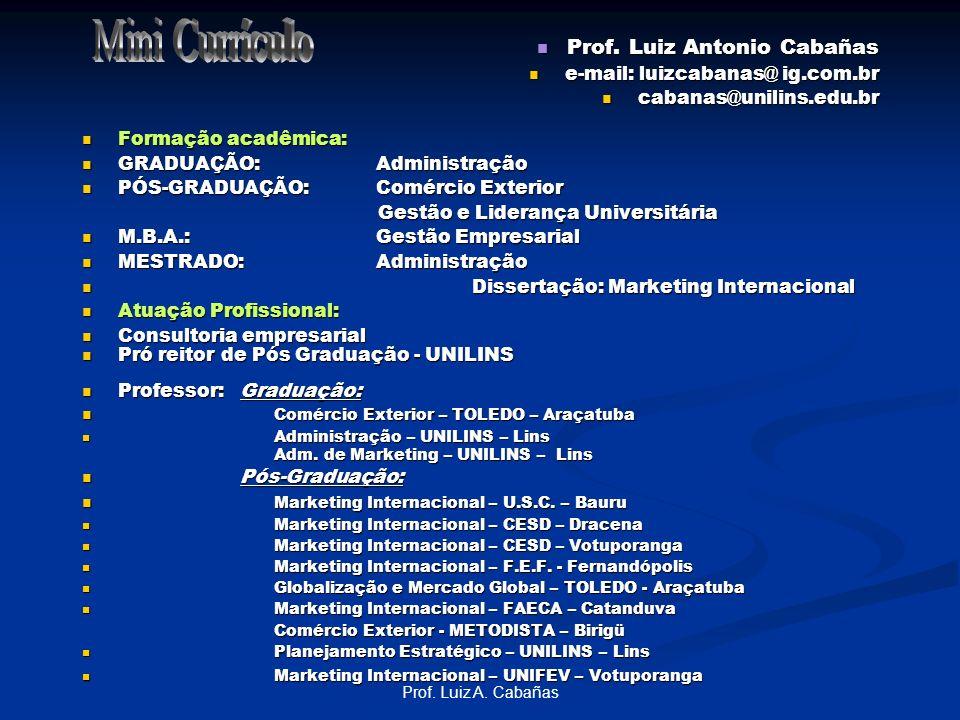 Mini Currículo Prof. Luiz Antonio Cabañas