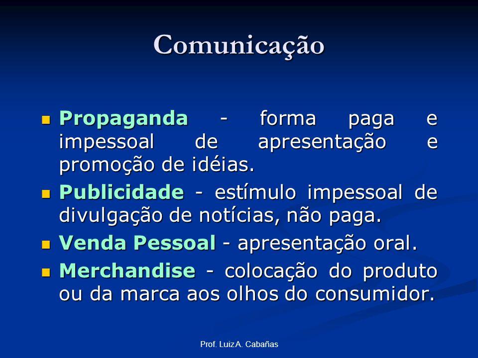 Comunicação Propaganda - forma paga e impessoal de apresentação e promoção de idéias.