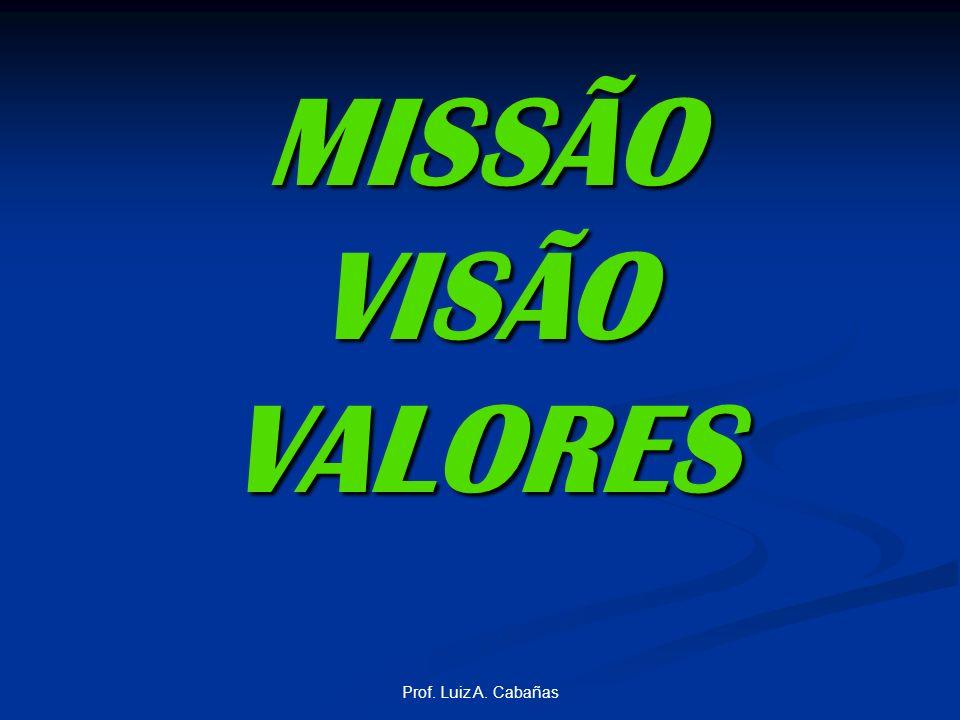 MISSÃO VISÃO VALORES Prof. Luiz A. Cabañas