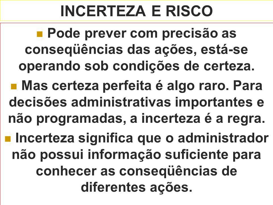 INCERTEZA E RISCO Pode prever com precisão as conseqüências das ações, está-se operando sob condições de certeza.