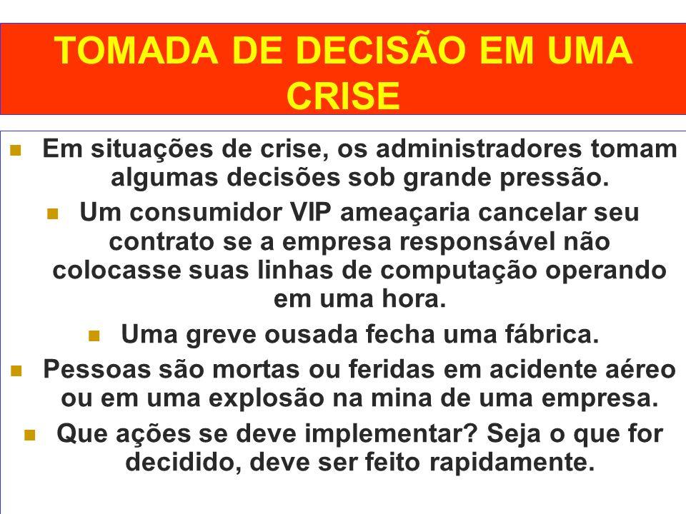 TOMADA DE DECISÃO EM UMA CRISE
